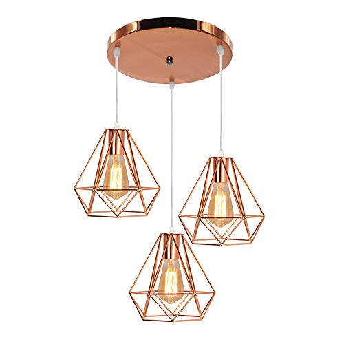 Suspension Diamant Lampe Plafonnier de Abat-Jour Métal Or Rose avec 3 lampe socle Double Corde Ajustable Luminaire Industrielle Design