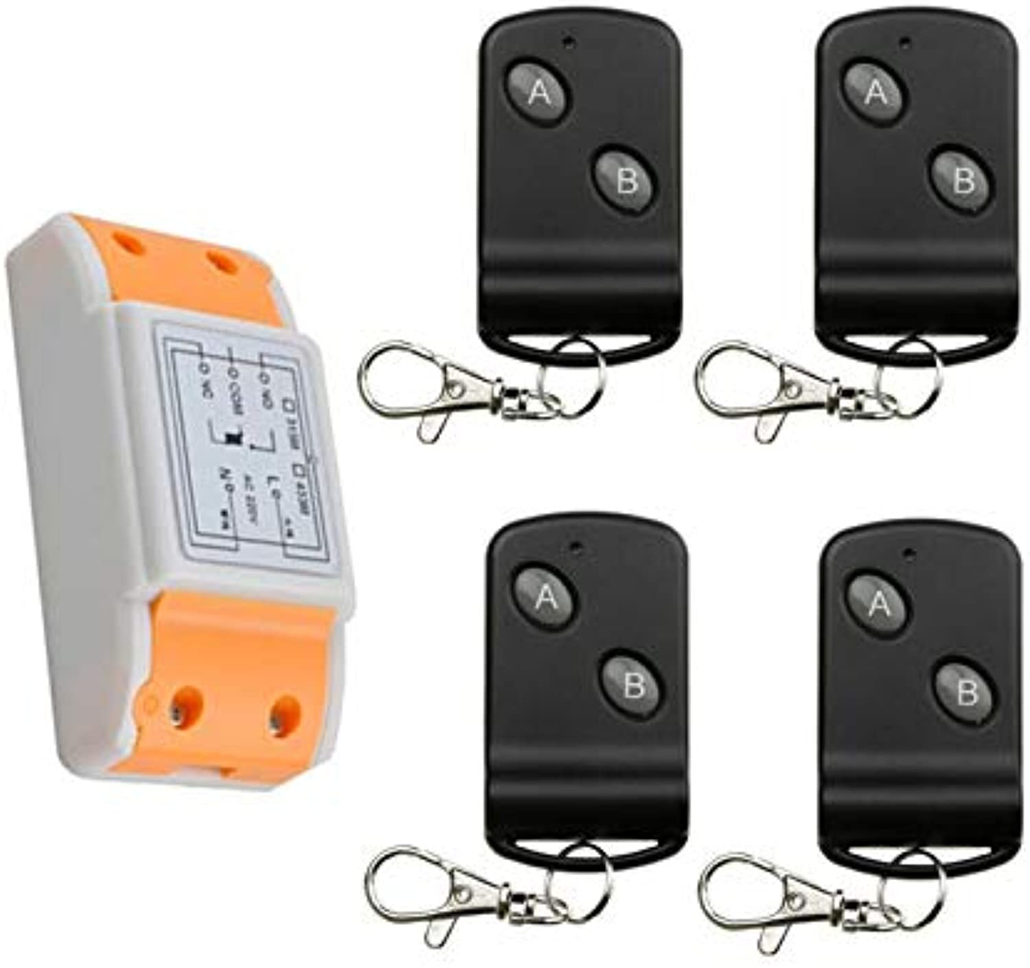 New 220 v 1 ch Cool Remote Control Switch 1 Receiver + 4 Transmitter 2 Key Interself Household