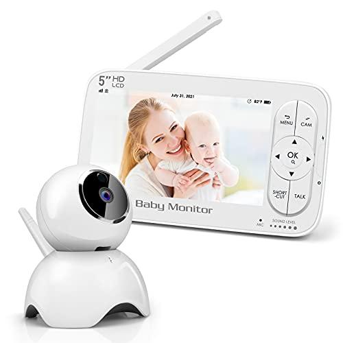 Babyphone mit Kamera , 5 Zoll Video Babyphone 720P HD Farbdisplay ,Gegensprechfunktion, VOX Modus, Infrarot-Nachtsicht, Temperatur, Schlaflied und & 2 x Zoom, 2100 mAh Wiederaufladbar Akku