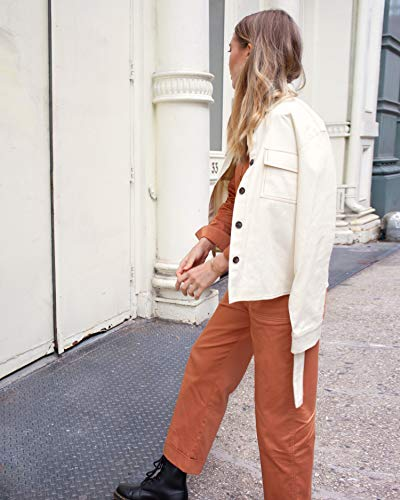 The Drop Women's Rust Brown Long Sleeve Button Down Utility Jumpsuit by @viktoria.dahlberg