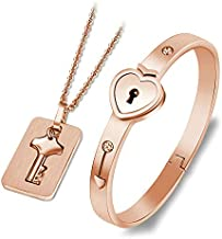 Stainless Steel Couple Jewelry Sets For Lovers Love Heart Lock Bracelets Bangles Key Pendant Necklace Couples Set