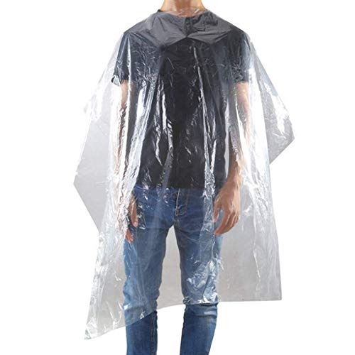 50/100/200 Pcs Hair Cutting Capes Disposable Clear Hair Salon Capes Waterproof Hair Cutting Cover Barber Cape Perfect for Barbershop and Salon Hairdressing Hair Dye Perming,50pcs
