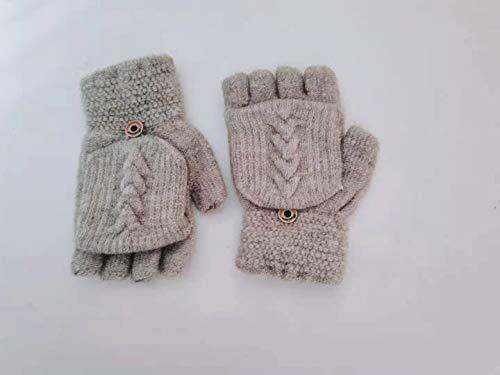 Damen Flip Handschuhe ,Winter Handschuhe Fingerlose Fäustlinge Damen Mädchen Doppelfunktione Winterhandschuhe Fingerhandschuhe Strickhandschuhe mit Flip Top (grau)