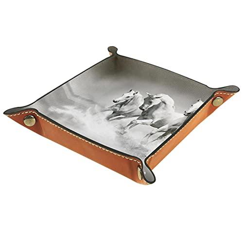 Cavalli bianchi, Vassoi in Pelle Valigia Vassoio per Chiave Moneta Gioielli Dadi Portafoglio Personalizzato Utility Tray per Home Office Decor