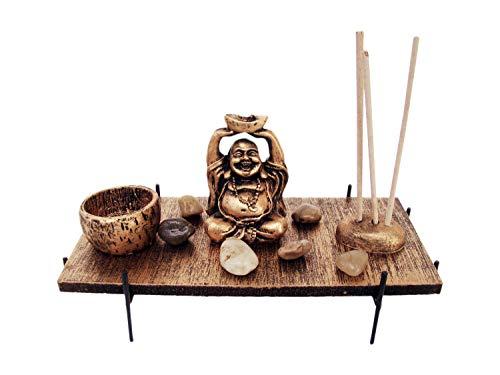 Genki-Bonsai Buddha Dekotisch mit 1 Windlicht und 3 Rauchstäben aus Holz in Gold, 20x9x4 cm, Asiatische Deko für Ihr Wohnzimmer