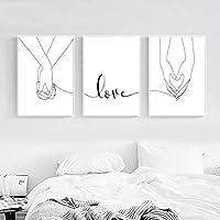 愛のキャンバスプリント絵画手をつなぐポスターミニマリスト線画壁アート甘い愛の壁の写真寝室の装飾40x50cmx3pcsフレームなし