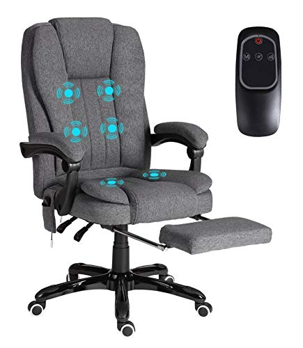 GIODIR High Back Massage Office Chair - Executive Office Chair Ergonomic, Fabic Swivel Desk Chair with Padded Armrest, Footrest, Adjustable Height - Weight Capacity 350 LBS
