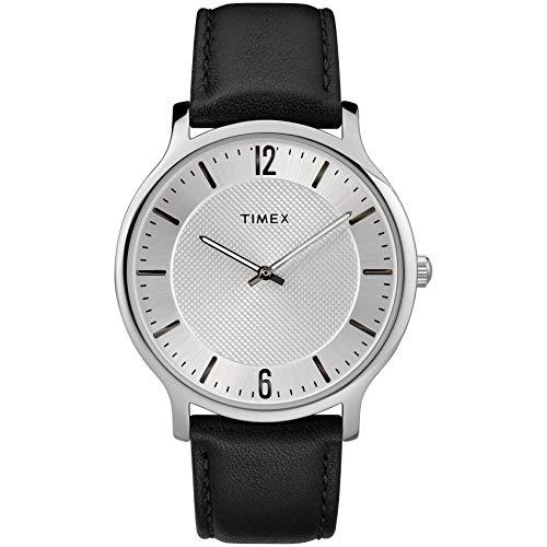 Timex Men's TW2R50000 Metropolitan 40mm Black/Silver-Tone Leather Strap Watch