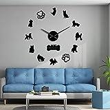 PYIQPL Toy Terrier Barboncini Yorkshire Terrier Razze di cani misti Wall Art Home Decor Orologio da parete gigante fai da te Cane Animali domestici Orologio appeso Decorazione murale 47inch (nero)