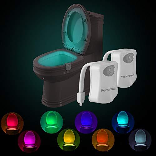 Powerole Luz nocturna de inodoro PIR con sensor de movimiento activado por movimiento, luz de baño LED, luz nocturna de inodoro interior que cambia de color 8, funciona con batería