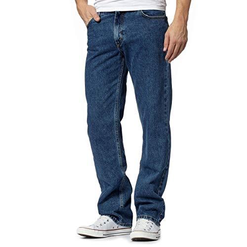 Fashion's Island Mens Donker Blauw Blauw Denim Jeans Klassieke Rechte Been Plain Denim Jeans (Donker Blauw Lengte 29/Taille 36 Inch)