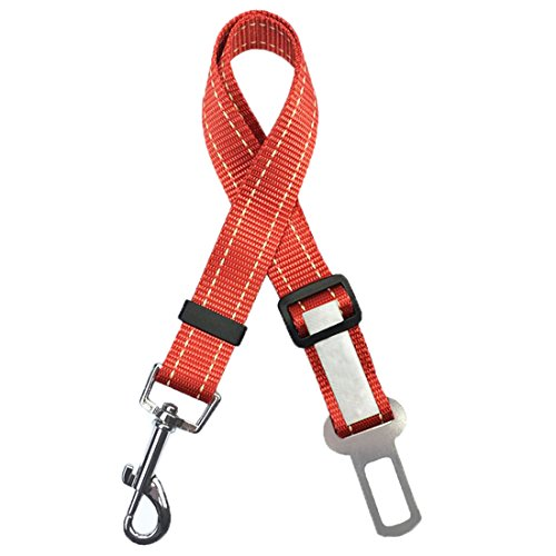 Feiling Veiligheidsgordel voor honden, verstelbare autogordel, hondenriem, reflecterende leash nylon, hondenveiligheidsgordel, Large, rood