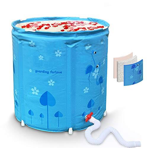 Portable Bathtub,Flamingo Foldable Freestanding Bathtub,Easy to Install Bathtub Spa or Ice Bath Soaking Bathtub,Full Area Thick Thermal Insulation Foam Material