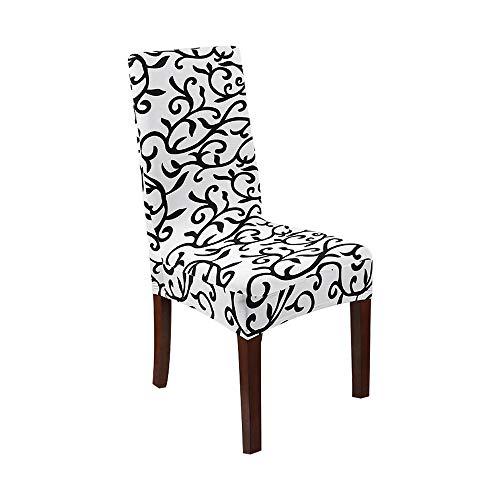 Qier Stuhlhussen Stretch Chair Schonbezug, Elastic Spandex Möbel Sitzdekoration, Dining Hotel Büro Bar Stuhl Schutzhüllen, Blätter Drucken, Weiß, Set Von 1