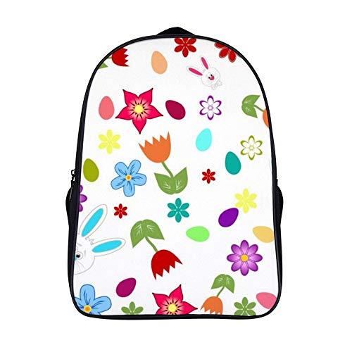 XIAHAILE Kompakte Rucksack Büchertasche für Männer und Frauen, leichter Rucksack für Schul und Urlaubsreisen,Osterhasen Osterei Blumen
