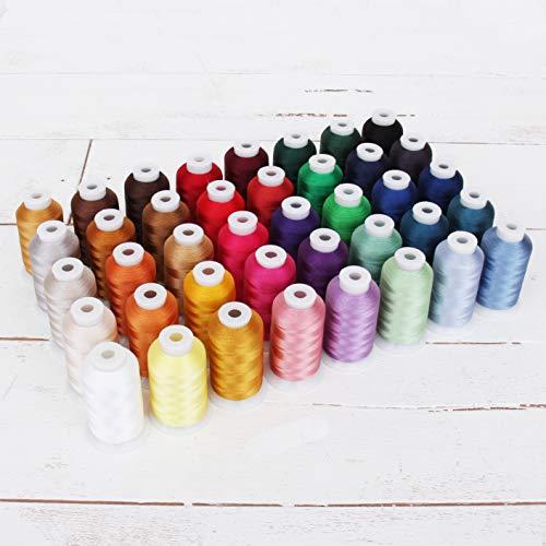 Buy Threadart 40 X-Large Spools Polyester Embroidery Machine Thread Set Vibrant Colors | 1000M Spools 40wt | For Brother Babylock Janome Singer Pfaff Husqvarna Bernina Machines