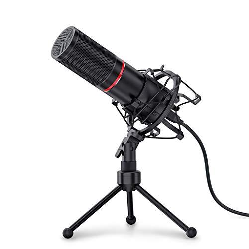 FKSDHDG Micrófono de grabación de Condensador USB de Metal con trípode para computadora portátil Estudio cardioide Grabación de Voces Voz en Off