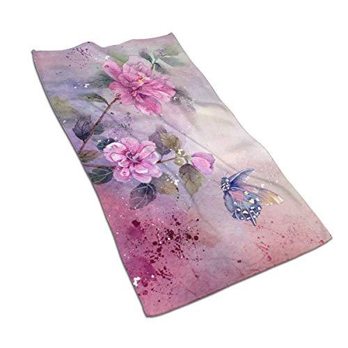 AOOEDM Toallas de Mano Flores de Hibisco Floral Acuarela Toalla de Cara Decoración Regalos Toallitas portátiles para baño Hotel Gimnasio Yoga o SPA 27,5 x 15,7 Pulgadas