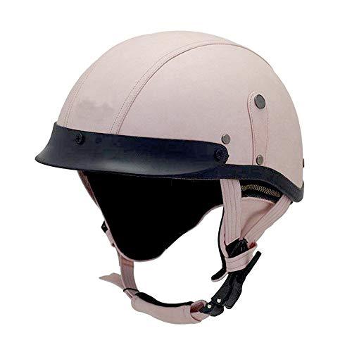 Woljay Leather Motorcycle Vintage Half Helmets Biker Cruiser Scooter Touring Helmet (Pink)