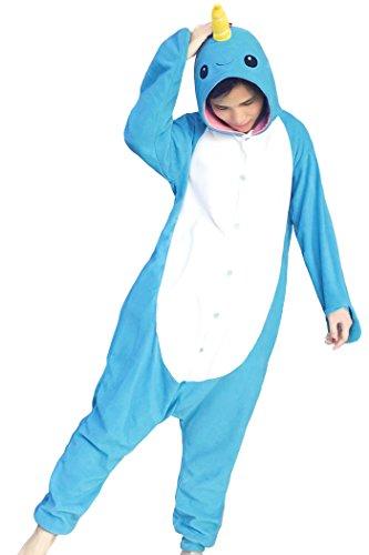 FORLADY Unisex Erwachsene Pyjamas Blauer Narwal Jumpsuit Onesie Cosplay Pyjama (L, Narwal-Blau)