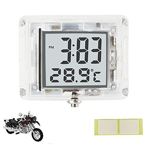 MOPOIN Reloj de moto, mini reloj digital, resistente al agua, con formato de 12 horas y indicador de temperatura, para coche, moto, bicicleta, baño, cocina