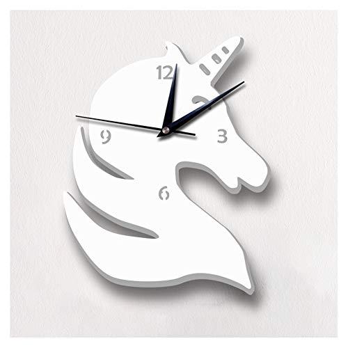Wandklokken Unicorn Wall Clock Mute Stijlvol Mirror Decoratieve Klok, 10 Inches White, geschikt for de woonkamer/slaapkamer/Children's Room/Kindergarten Muur Woondecoratie