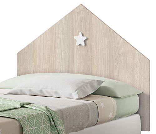 Pitarch Cabezal Infantil Shine Color Roble cabecero Dormitorio Juvenil Estrella Blanca 100x80