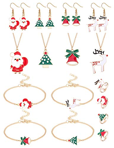 Fiasaso 16 Pcs Christmas Jewelry Sets for Women Christmas Tree Santa Claus Elk Bell Cartoon Thanksgiving Xmas Jewelry Holiday Necklaces Bracelets Dangle Drop Earrings Rings Set