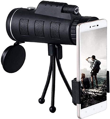 Bierglaks Telescopio monocular Estelar, telescopios con Lente HD 40X60 con Clip para telfono, brjula para trpode, Caza, Escalada, Pesca, monocular -