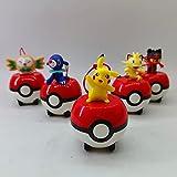wdsheng 5 Unids / Set Pokemon Litten Rowlet Popplio Meowth Pikachu Pokeball Modelo Juguetes Colección De Figuras De Acción Regalos para Niños 6Cm