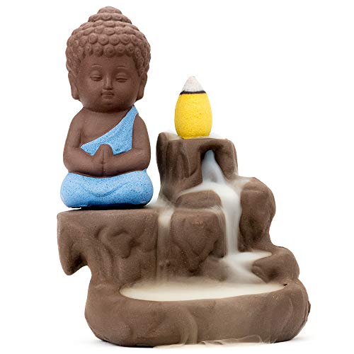 Incense Burner Smoke Waterfall Backflow Holder Ceramics Porcelain Buddha Little Monk Tower Cones Sticks Ash Catcher with 20 backflow Incense Cones(Blue)