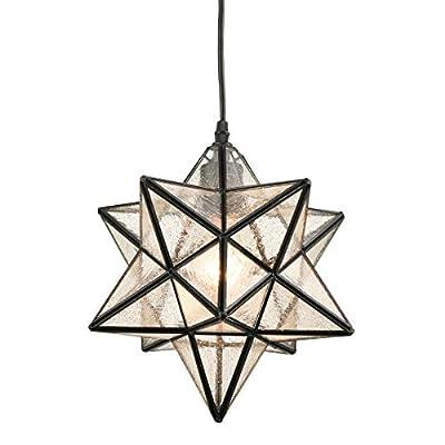 DANXU Seeded Glass Shade Industrial Moravian Star Light Pendant Lighting 12 Inches
