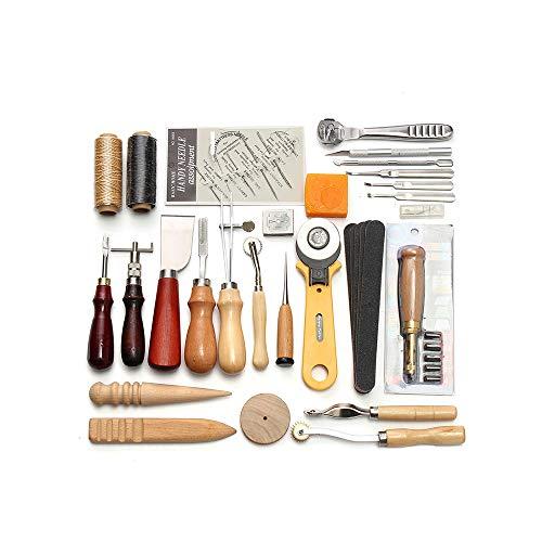Verdelife Leder-Handwerkswerkzeug, 37 Teile, für Handnähen, Nähen, Stempeln und Sattelherstellung