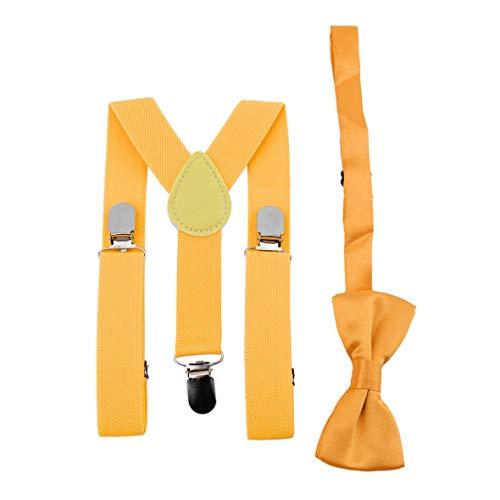 Heaviesk Ajustable y elástico con clips de metal Tirantes de poliéster para niños de diseño y corbatín de moño Conjunto de corbatas a juego Trajes