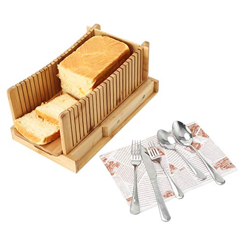 TQVAI Natural Bamboo Homemade Bread Slicer with Crumb Tray Bread Cutter for Loaf Cakes, Bagels, Original