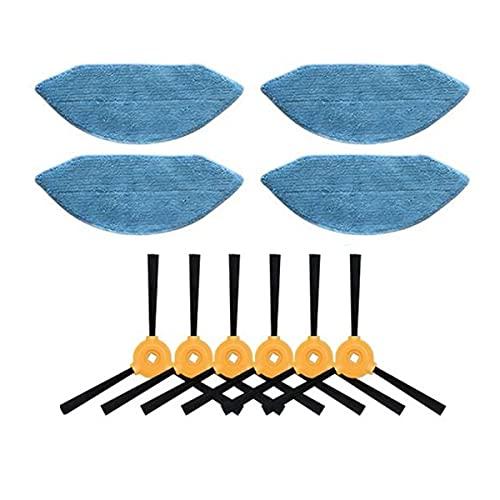 Fantisi 4 panni per mocio + 6 spazzole laterali Kit di ricambio per aspirapolvere robot Ecovacs Deebot U2/U2 Pro