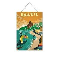 リオデジャネイロブラジルオオハシ木製のリストプラーク木の看板ぶら下げ木製絵画パーソナライズされた広告ヴィンテージウォールサイン装飾ポスターアートサイン
