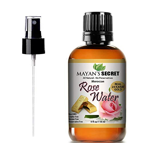24K Gold Rose Water Facial Toner 100% Pure Organic Natural Moroccan Rosewater Hydrosol Face Spray 4 oz