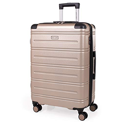 Pierre Cardin ABS Hard Shell 26 Inch Suitcase - Travel Luggage with 8 Spinner Wheels | Telescopic Drag Handle | Hard Sided Suitcases Weighing 3.6kg Cap 62L Height 66.5cm CL889 (Medium, Champagne)
