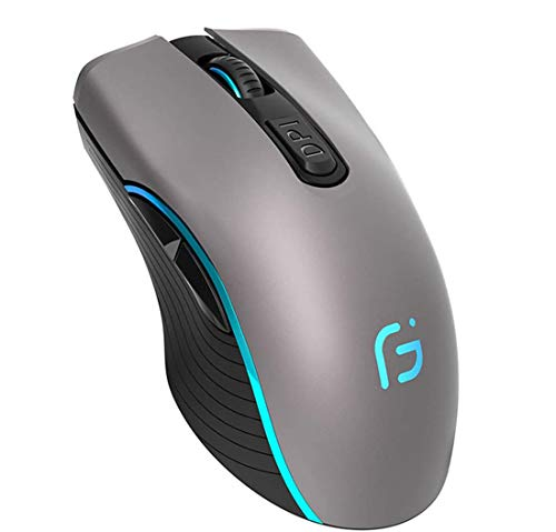 Bluetooth Mouse Wireless Dual Mode 2 in 1 Silent Rechargeable Mouse with Bluetooth 4.0 and 2.4G 2400DPI Ergonomic Portable Optical Mice for PC Laptop (Gray)