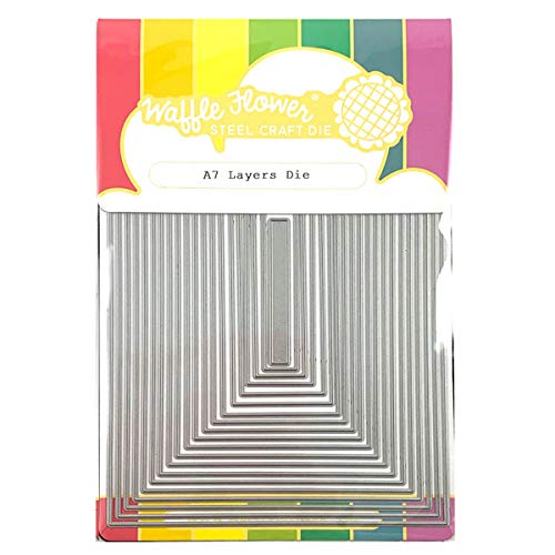 Waffle Flower Crafts - A7 Layers Die - Rectangle Frame Nested Metal Cutting Dies for Stamps and Card Making