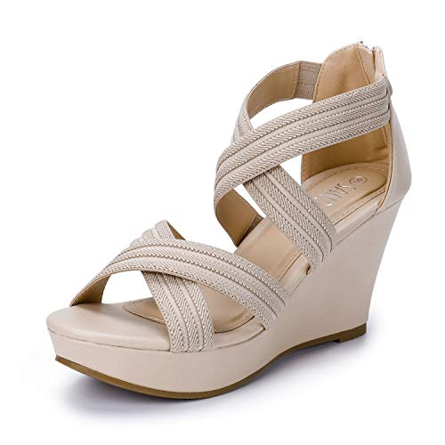 SANDALUP Elastic Band High Heels for Women Beige 09