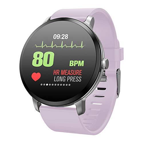 Padgene SmartWatch Pulsera Actividad Reloj Inteligente Deportivo IP67 Bluetooth con Pulsómetro Monitor de Sueño, Música, Cámara Remota, Notificación de Llamada Mensaje para Android e iOS (Púrpura)