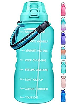 Giotto Large 1 Gallon Motivational Water Bottle with Paracord Handle & Removable Straw - Leakproof Tritan BPA Free Fitness Sports Water Jug with Time Marker-1G-Mint Green
