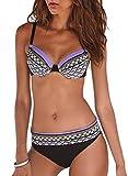 BLENCOT Bikini Mare Donna Estivo Vita Bassa Bikini Donna Mare Due Pezzi Costume da Bagno Donna Bikini con Coppe Imbottite Bikini Donna Scollo a V, Viola, S
