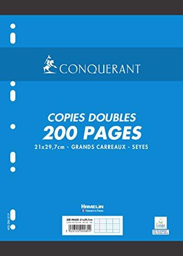 Conquérant Copies Doubles perforées A4 200 pages 70 g grands carreaux seyès