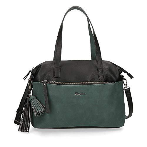 Pepe Jeans Damen Reißverschlusstasche, Schwarz, 35 cm