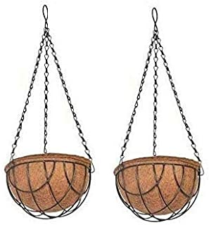 COIR GARDEN Coir Hanging Baskets - 8 INCH - Pack of 2 - Balcony Garden Decoration for Indoor and Outdoor
