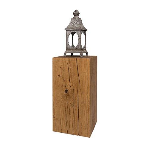 GreenHaus Dekosäule 25x25 cm deutsche Eiche Massivholz, handgefertigter Holzwürfel und rustikaler Blumenständer (25)