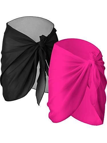 2 Piezas de Pareo de Playa de Mujeres Cubiertas Sarong Falda de Gasa de Bañador (Negro y Rojo Rosado)